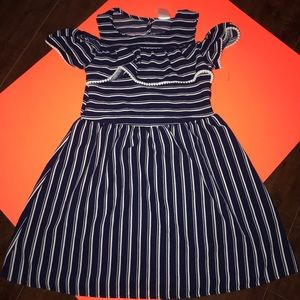 Beautiful navy blue and white striped dress